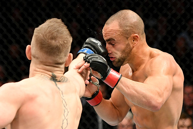 NEW YORK, NY - NOVEMBER 12: Eddie Alvarez of the United States (right) fights against Conor McGregor of Ireland in their lightweight championship bout during the UFC 205 event at Madison Square Garden on November 12, 2016 in New York City. (Photo by Jeff Bottari/Zuffa LLC/Zuffa LLC via Getty Images)